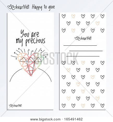 Valentines Day card. Vector two side postcard with hand drawn heart and greeting phrase on white background