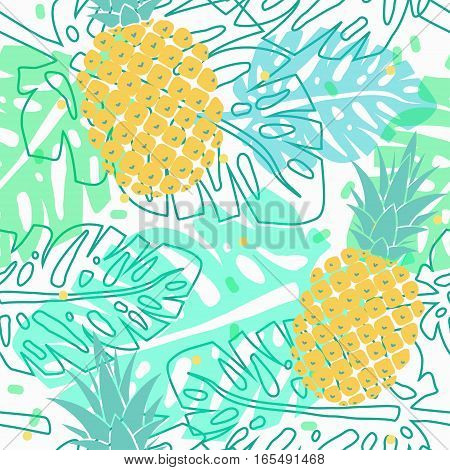 vector seamless pattern with pineapples and palm leaves, tropical summer pattern