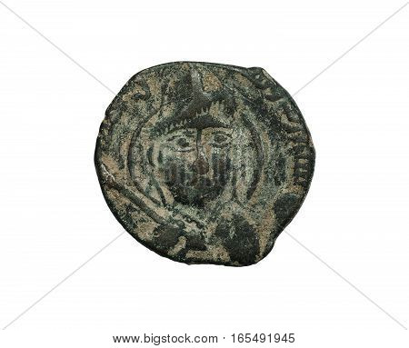 Ancient Copper Islamic Coin With Face On It Isolated On White