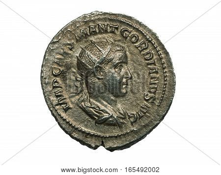 Ancient Roman Silver Coin Of Emperor Gordianus Isolated On White