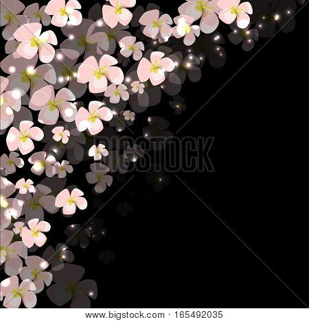 pattern of pink flowers this gloss point on the dark background