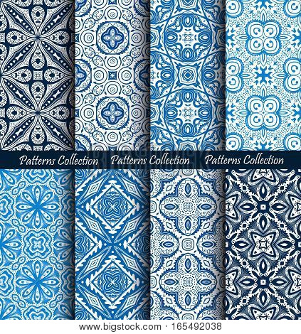 Blue backgrounds floral set. Forged seamless patterns. Elegant ornament for damask wallpaper, fabric, paper, invitation print. Stylized flower vector. Black and white flourish motif. Unusual vintage.