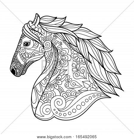 Stylized Head Horse Coloring Book For Adults Vector Illustration. Anti-stress Coloring For Adult. Na