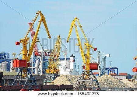 Port Cargo Crane And Sand