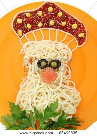 creative vegetable food meal with spaghetti mushroom form