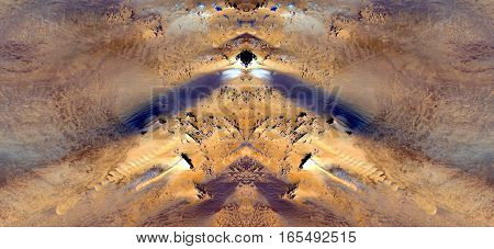 Effects of wind erosion on the desert sand, symmetrical photographs of landscapes of the deserts of Africa from the air,