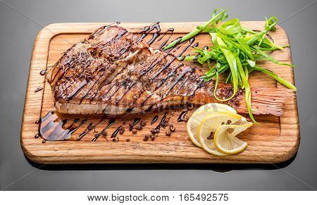 sea bass grilled, grilled Fish Fillet with BBQ Vegetables