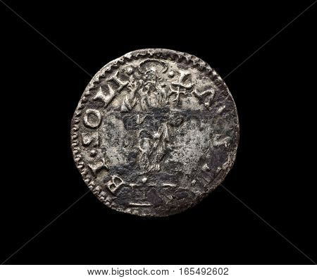 Ancient Silver Venetian Coin Isolated On Black