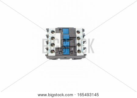 Magnetic contactor on white background contactor, equipment,