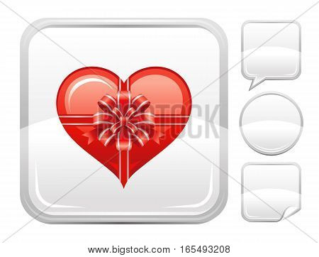 Happy Valentines day romance love heart. Gift box bow icon isolated on white background. Romantic dating vector illustration. Button icons set. Abstract template holiday design. Flat cute cartoon sign