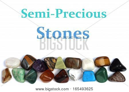 Assorted Semi-Precious Stones isolated on white background