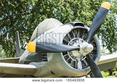 Old Aircraft Round Piston Engine.