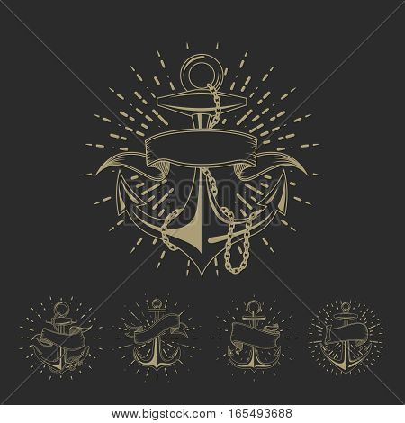 Anchor maritime sailor tattoo set or vintage nautical logo collection. Marine anchor sketch with ribbon illustration