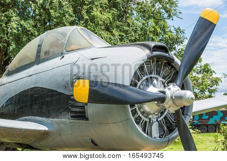 Old Aircraft Round Piston Engine.