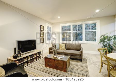 Family Room Interior With Gray Sofa And Trunk Coffee Table