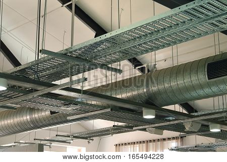 Equipment and piping inside industrial warehouse factory