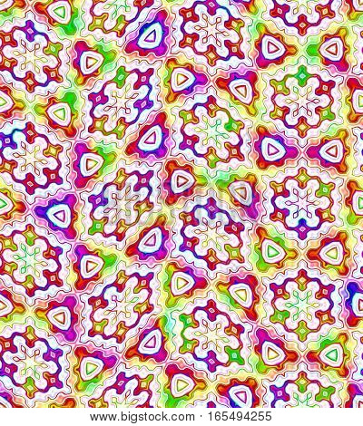 Abstract colorful floral tile pattern.  Multicolor tiled texture background. Seamless illustration.