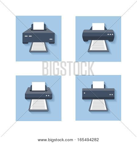 Print flat icons. Office paper printer, scanner and photocopier colored signs. Set of icons printer machine device. Vector illustration