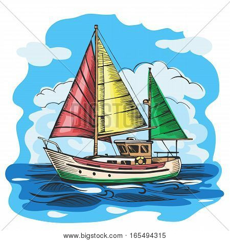 Sailing boat colored vector sketch with clouds and stylized waves. Sea yacht floating on the water surface.