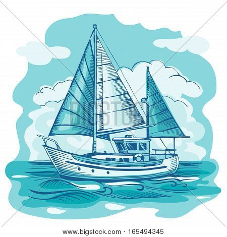 Sailing boat monochrome vector sketch  with clouds and stylized waves. Sea yacht floating on the water surface.