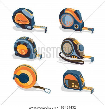 Measuring tape, a set of different lengths and shapes on a white background. Building measuring tool. Home Repair and creativity. Stock vector set.