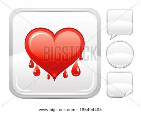 Happy Valentines day romance love heart. Bleeding heart icon isolated on white background. Romantic dating vector illustration. Button icons set. Abstract template holiday flat cute cartoon sign