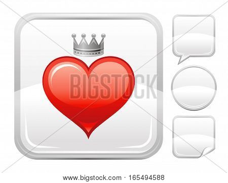 Happy Valentines day romance love heart. Prince crown icon isolated on white background. Romantic dating vector illustration. Button icons set. Abstract template holiday design. Flat cute cartoon sign