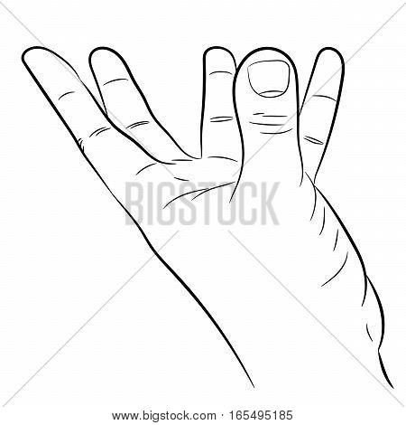 hand with fingers outstretched support on white background of vector illustrations