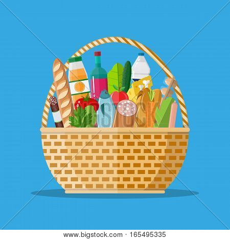 wicker basket full of groceries products. Grocery store. vector illustration in flat style