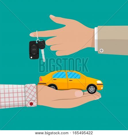 Hand with yellow car and keys. vector illustration in flat design