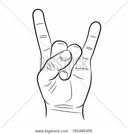 sign hand rock & roll heavy metal on white background of vector illustrations