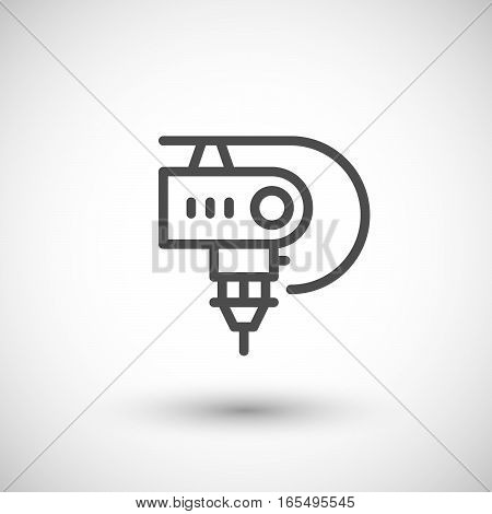 Robotic machine part line icon isolated on grey. Vector illustration