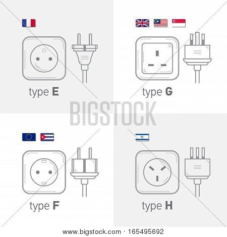 Different type power socket set vector isolated icon illustration for different country plugs. Type EFGH
