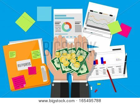 hands with money and folder with financial reports and pen. vector illustration in flat design