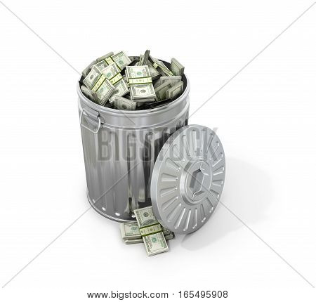 The concept of recycling. Trash with money on a white background. 3D illustration