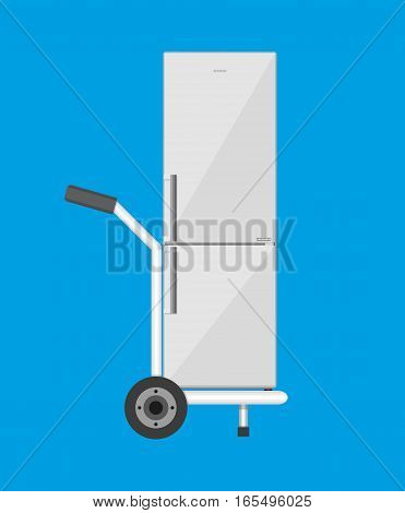 Metallic hand truck with freezer. delivery concept. vector illustration in flat design
