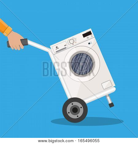Metallic hand truck with washing machine. delivery concept. vector illustration in flat design