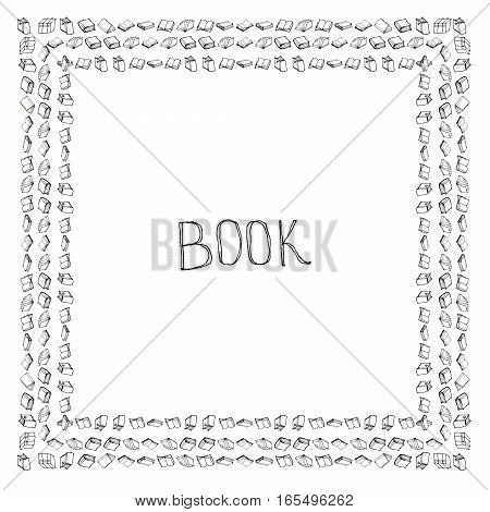 Book doodle frame. Black and white hand drawn square border.