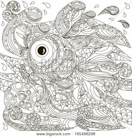 Hand drawn doodle fish on waves, anti stress coloring page stock vector illustration