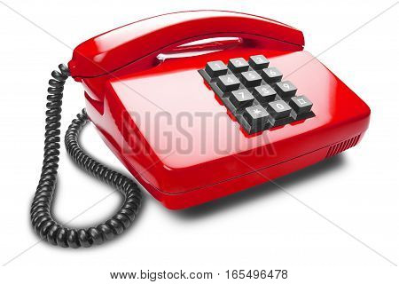 landline red phone on the isolated white background with shadow