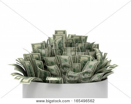 A bunch of money on a white background. 3D illustration
