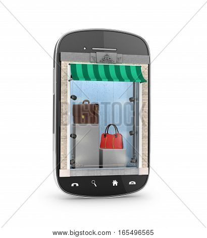 Shop bags and clothing accessories in the mobile phone. The concept of an online store. 3D illustration