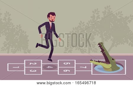 Young carefree businessman playing hopscotch, jumping unaware of danger in front of him, unable to escape the problem awaiting, unrealistic with goals, soon breaking down, company merger or takeover