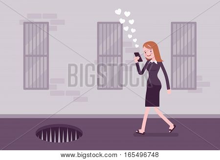 Young carefree woman walking down the street, looking at the screen of her phone, virtually, injured in distracted walking incidents, risk of an accident, pit with sharp pales in front, sending likes