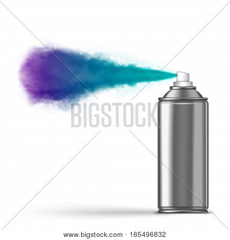 Spraying aerosol on white background . isolated on white background