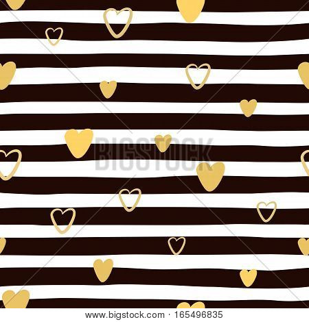 Abstract Seamless hand drawn striped pattern with golden hearts. Endless texture can be used for wallpaper pattern fills web page background. Vector illustration