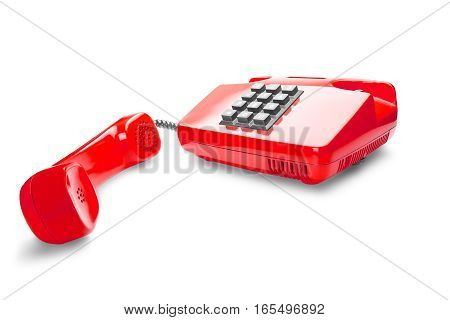 red landline phone on isolated white background