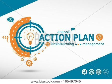 Action Plan On Target Icon Background. Flat Illustration.