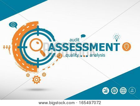 Assessment On Target Icons Background. Flat Illustration.