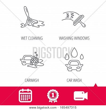 Achievement and video cam signs. Car wash icons. Automatic cleaning station linear signs. Washing windows, wet cleaning and foam bucket flat line icons. Calendar icon. Vector